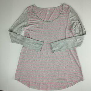 LuLaRoe Lynnae Long Sleeve Top gray and pink